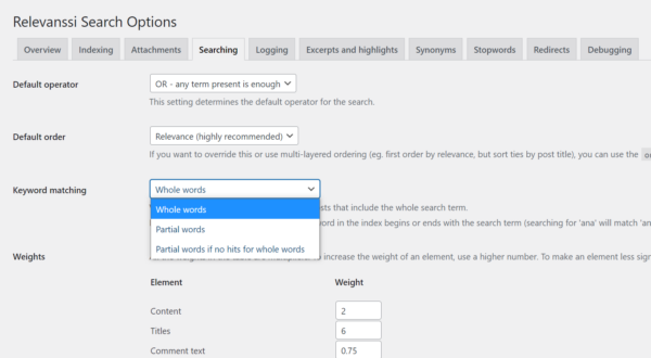 Configuration options for the Relevanssi Search plugin