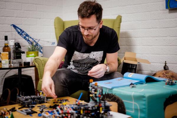 Maarten building Lego