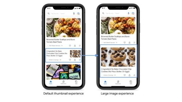 Difference between small and large image in Google Discover