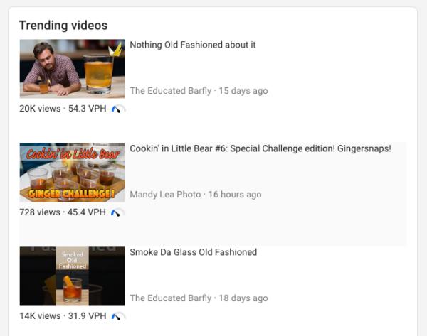 captura de pantalla de videos de tendencias para una palabra clave en vidIQ