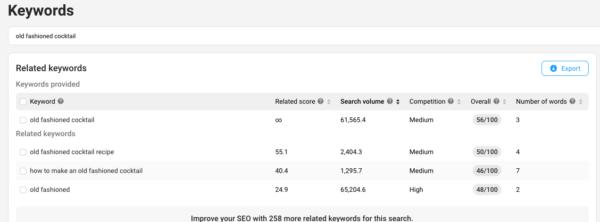 Investigación de palabras clave de YouTube: captura de pantalla de la herramienta de palabras clave vidIQ