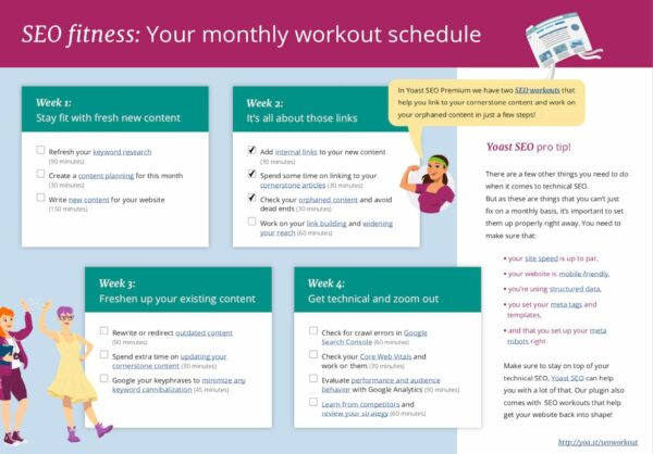 image of SEO fitness monthly work out schedule
