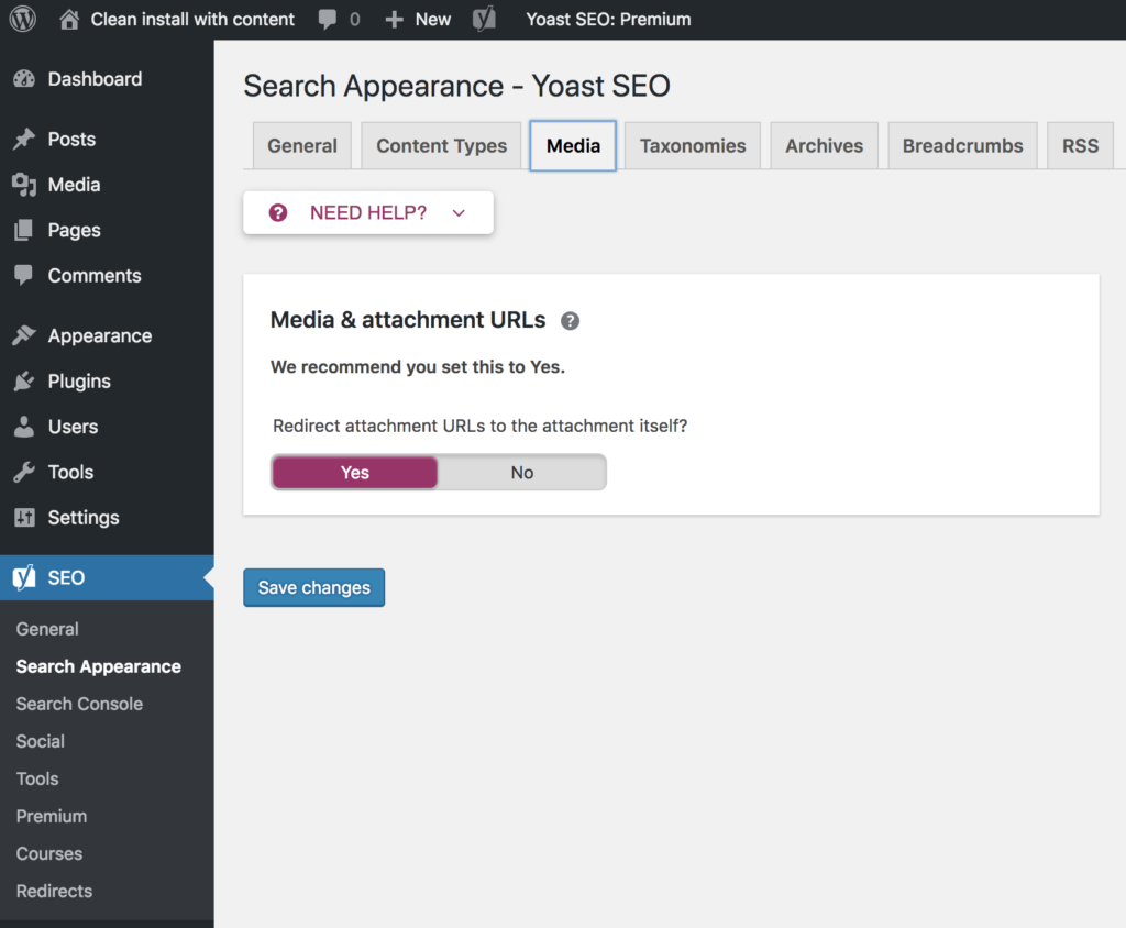 Yoast media attachments tab