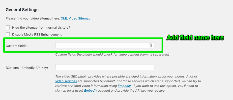 Add Custom Field into Video SEO