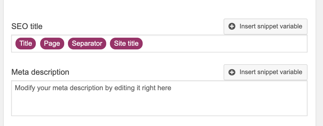 Search Appearance Snippet Variables