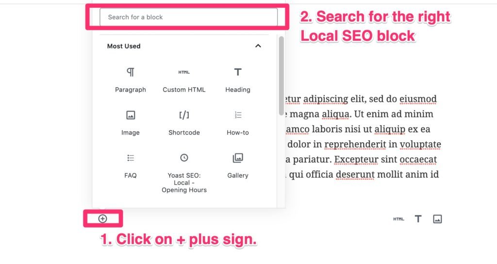 Search for Local SEO Gutenberg Block