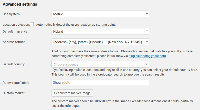 Yoast SEO Local Advanced Settings