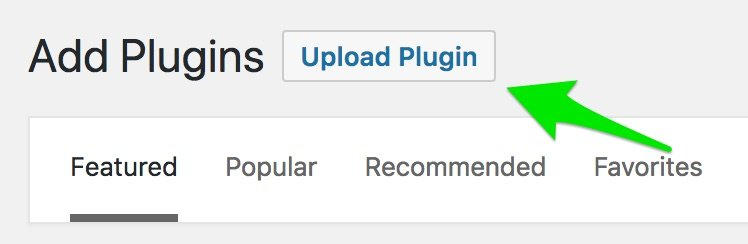 Screenshot of the upload plugin button on the add plugins screen