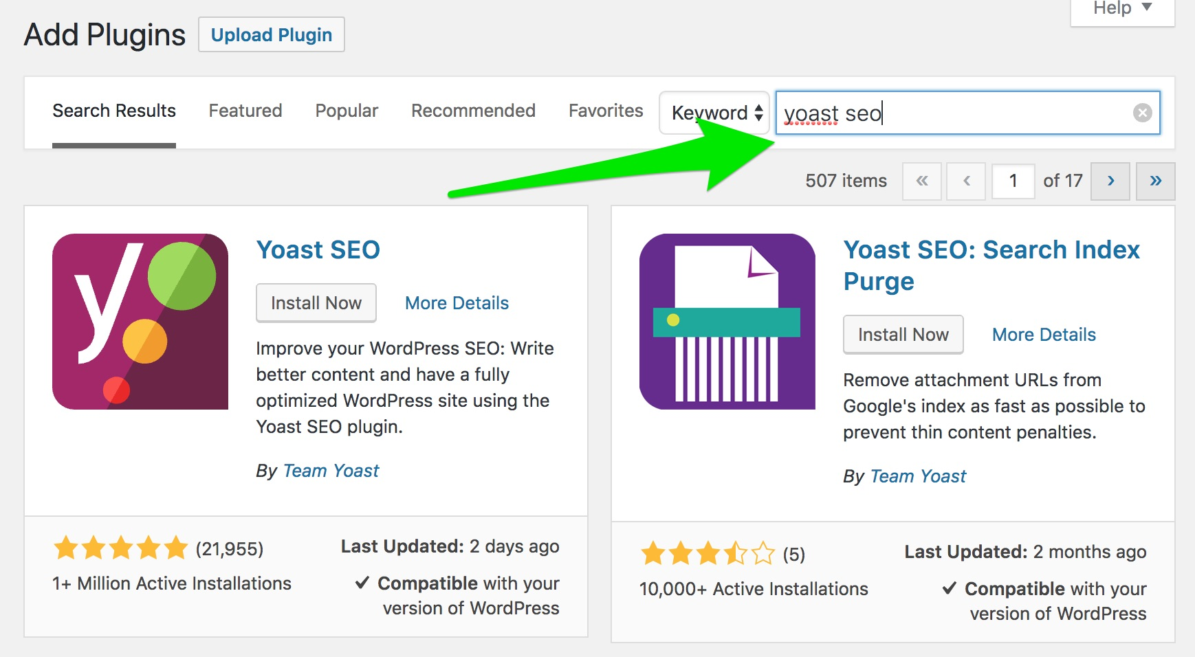 Search for 'Yoast SEO' on the Install plugins screen