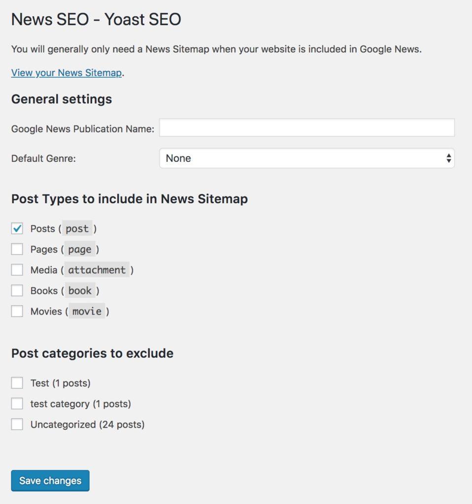 Yoast News SEO settings