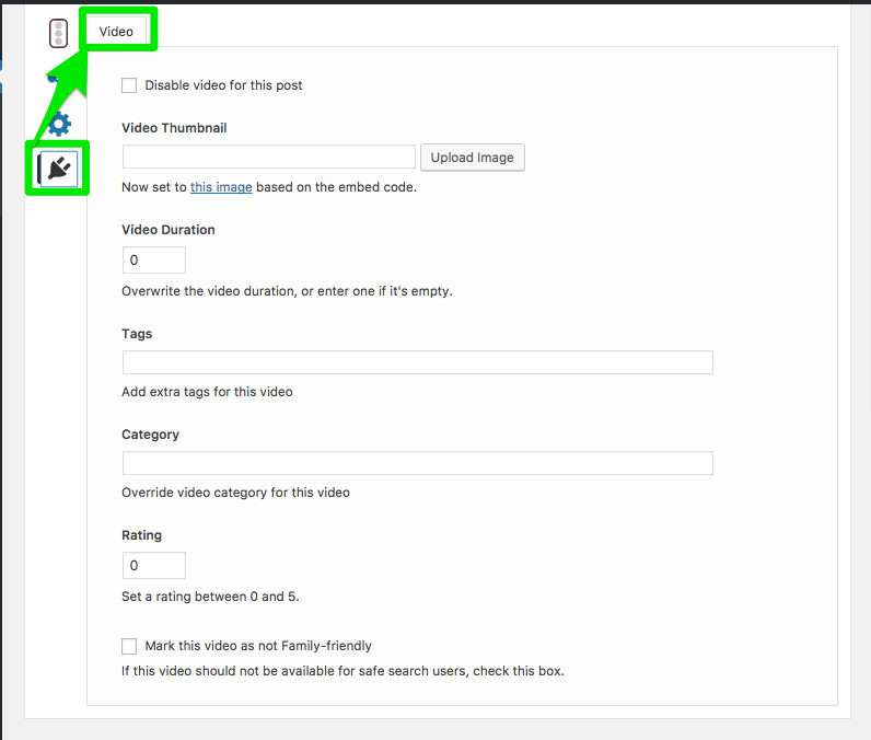 Video SEO Settings on a Post Page
