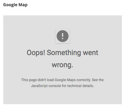 Google Maps error