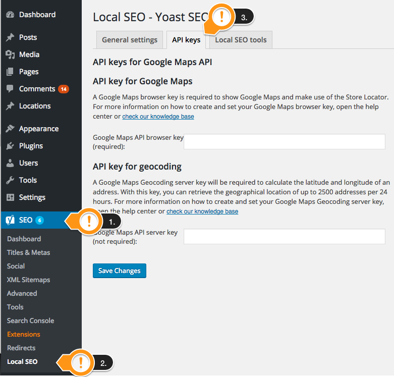 Navigate to the API keys page in Yoast SEO: Local