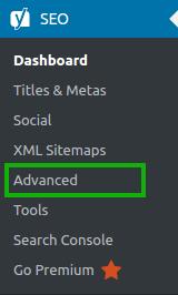 Yoast SEO > Advanced