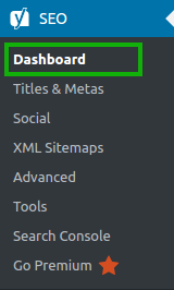 Yoast SEO > Dashboard