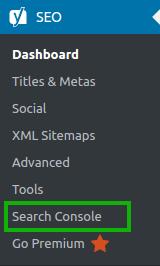 Yoast SEO > Search Console