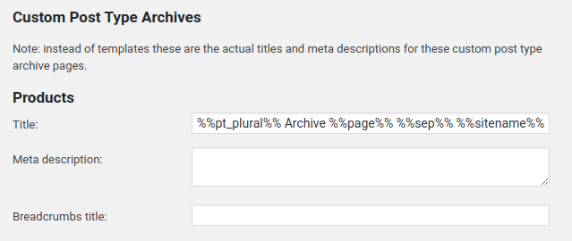 Yoast SEO > Titles & Metas >Post Types > Custom Post Type Archives