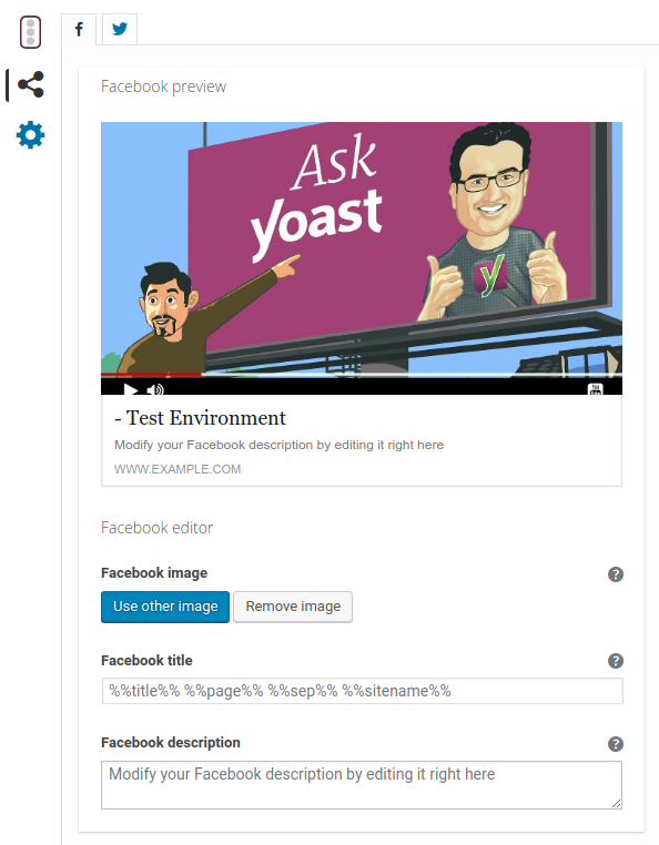Yoast SEO Metabox : Social Tab - Facebook preview