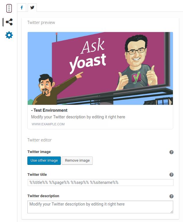 Yoast SEO Metabox : Social Tab - Twitter preview