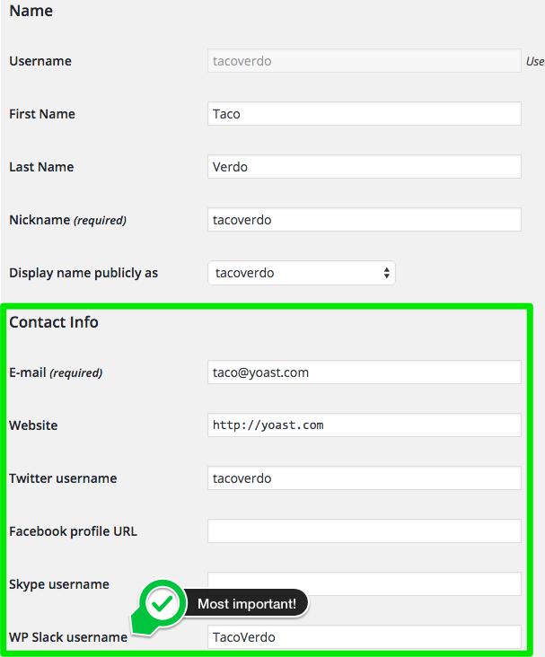 User contact info Slack username