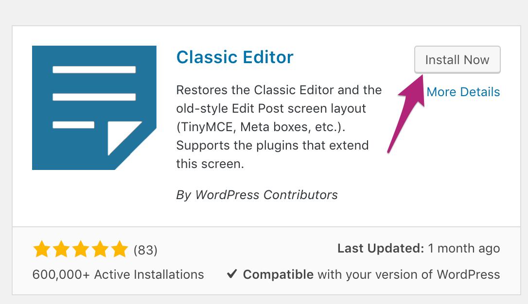 Instalar Classic Editor