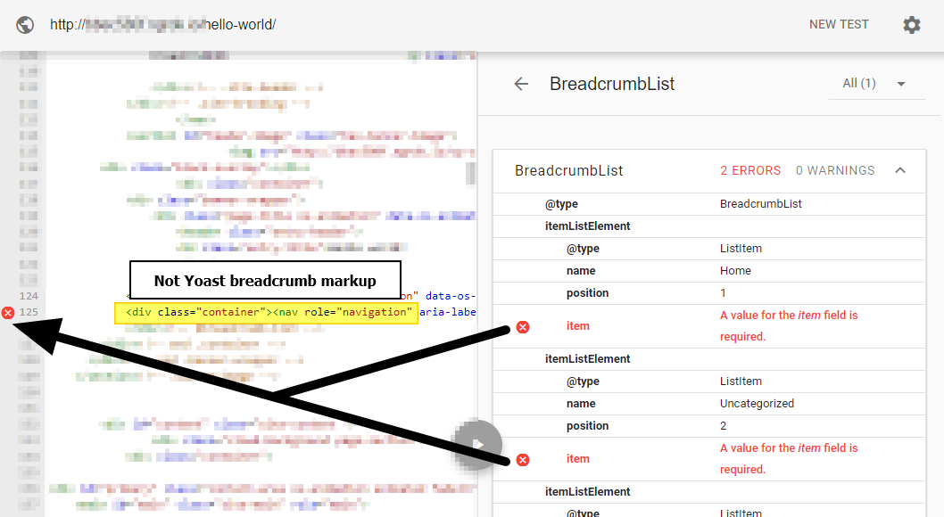 Non-Yoast breadcrumb markup with errors